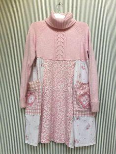 Upcycled clothing Artsy Clothing Pink Sweater Dress