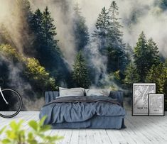 Smoky forest Wall mural is part of Wallpaper bedroom home - Smoky forest Wallpaper from Happywall com Art Deco Wallpaper, Forest Wallpaper, Photo Wallpaper, Tree Wallpaper, Bedroom Murals, Home Decor Bedroom, Bedroom Interiors, Wall Paper Bedroom, Home Decor Ideas
