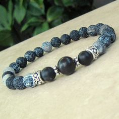 Stretch Bracelet Matte Black Agate and by PureEnergyMalaJewels