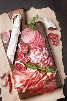 Meat antipasto platter on stone table. Meat Platter, Antipasto Platter, Cheese Platters, Food Platters, Meat Recipes, Wine Recipes, Italian Meats, Italian Ham, Italian Salami