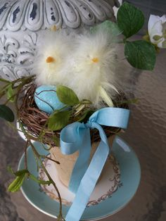Waiting For Our Brother  Two chicks in a nest Easter by JeanKnee, $20.00