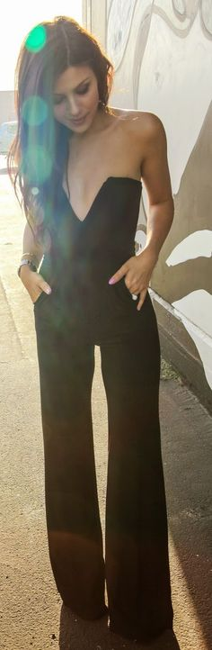 Chic Dolce Vita Black Glam Plunge Fit And Flare Strapless Jumpsuit by The Honeybee