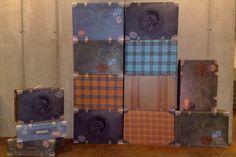 Catena di abbigliamento. Valigie in cartone e tessuto stampato. Assemblaggio a mano. www.mtlook.it