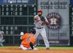 CrowdCam Hot Shot: Houston Astros shortstop Jonathan Villar is out as Los Angeles Angels second baseman Howie Kendrick throws to first base during the sixth inning at Minute Maid Park. Photo by Troy Taormina