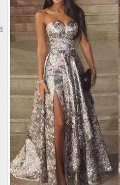 Sexy Silver Sleeveless Sequins Fishtail Evening Dress – wedding party dress,fashion dresses party,bridesmaid summer dresses,pretty party dresses,dresses for weddin Evening Dresses With Sleeves, Evening Dresses For Weddings, Maxi Dress With Sleeves, The Dress, Evening Gowns, Plain Dress, Elegant Dresses, Sexy Dresses, Beautiful Dresses
