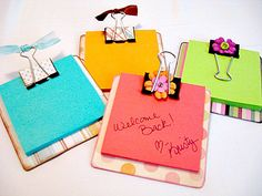 I have a love for coasters and sticky notes. sticky note holders - make using coaster, binder clips & scrapbook paper & ribbon Cute Crafts, Crafts To Make, Crafts For Kids, Teacher Appreciation Gifts, Teacher Gifts, Volunteer Appreciation, Student Gifts, Craft Gifts, Diy Gifts