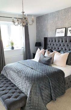 Grey Bedroom Design, Grey Bedroom Decor, Teen Bedroom Designs, Stylish Bedroom, Room Ideas Bedroom, Bedroom Sets, Dream Bedroom, Bedroom Curtains, Bedroom Furniture