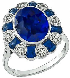 Estate 6.00ct Sapphire 1.00ct Diamond Ring