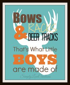 Bows Racks & Deer Tracks Print Boy's Room by SimplyLoveCreations