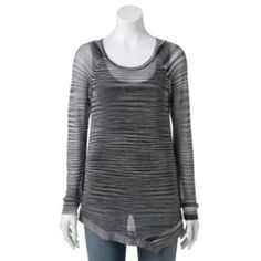Rock & Republic Open-Work Space-Dyed Sweater - Women's
