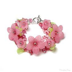 Cherry Splash Pink Flower Swarovski Crystal Cluster Charm Silver Bracelet, Romantic Spring Jewelry, Mother's Day Gifts, Wedding, Bridesmaids