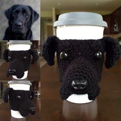 CROCHET PATTERN, Crochet Pattern Black Lab, Crochet Pattern Labrador, Crochet Pattern Dog, Cup Pattern Cozy, Crochet Pattern Amigurumi - pinned by pin4etsy.com