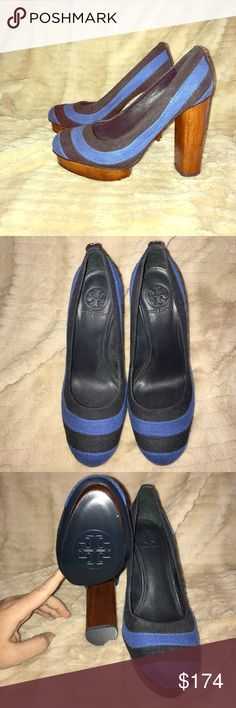 NWOT Tory Burch beautiful wood & canvas platform! These heels are actually beautiful. The wooden heel and platform make them super easy to walk in and the two toned blue is so perfect for spring. These have never been worn and are in perfect condition. Sorry, no box! Tory Burch Shoes