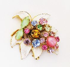 White Enamel and Pastel Floral Brooch