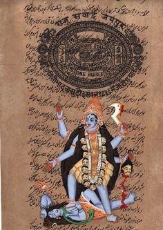 Kali Ma Goddess Art Handmade Hindu Divine Mother Old Stamp Paper Ethnic Painting Divine Mother, Mother Goddess, Mughal Paintings, Indian Paintings, Goddess Of Destruction, Rajasthani Art, Goddess Art, Krishna Art, Asia