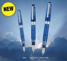 Sailior Sky Professional Gear Special Edition. With its transparent blue cap and barrel appropriately shaded like the sky on a clear day, this is an innovative demonstrator pen. The Sailor ProGear Sky is available in three models (from smallest to largest): ProGear Slim (also known as the Sapporo in some markets-$200), ProGear Standard (the normal Pro Gear-size model-$312), and ProGear King of Pen ($816). Whichever size you want, there is a Sky for you.