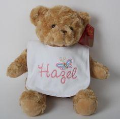 Baby's First Bear & Bib Personalised Teddy Bears, Dolls, Baby, Animals, Personalized Teddy Bears, Animales, Animaux, Doll, Newborns