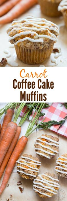 Carrot Coffee Cake Muffins with Cream Cheese Drizzle - perfect for brunch or snack!
