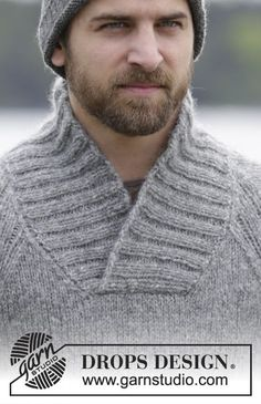 Knitted DROPS men's jumper with raglan and shawl collar in Air. Free knitting pattern by DROPS Design. Mens Knit Sweater Pattern, Baby Cardigan Knitting Pattern Free, Knitting Patterns Free, Free Knitting, Men Sweater, Free Pattern, Crochet Patterns, Drops Design, Aberdeen