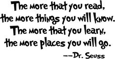 """Amaonm® Removable Quotes and Saying """"Dr. Seuss the More You Read, the More Things You Will Know"""" Transfers Murals Baby Art Vinyl Wall Decals Stickers Love Kids Bedroom Children School Amaonm http://www.amazon.com/dp/B014R2OHT6/ref=cm_sw_r_pi_dp_xcy6wb14KWVKK"""