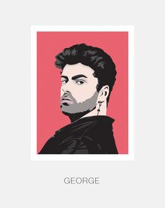 George Michael, English singer songwriter and producer. Original member of Wham. and Hand and Digitally Drawn Poster. By Mike Moran George Michael Wham, The Libertines, Arts Award, Line Art, How To Draw Hands, Wall Art, Quilting Ideas, Real People, A3