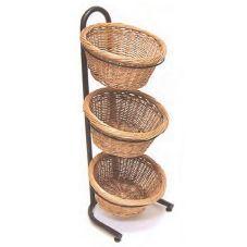 Mobile Merchandisers Black Tube Frame Three Tier Round Display Basket