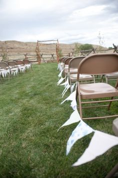DIY wedding decor - Flags along the aisle. Burlap, lace, and my colours with twine would be cute and easy.