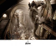 """To bring this deeply imaginative story to the movie screen, Warner Bros. and the Harry Potter series producer, David Heyman enlisted an outstanding team of filmmakers including award-winning production designer, Stuart Craig. """"Escape the Dragon"""" is a production design rendered under his direction by top illustrators such as Andrew Williamson. The result is a visual creation of Harry's world that has thrilled filmgoers worldwide."""