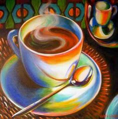 Image result for paintings of coffee cups