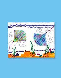 Tye-die stingrays.  Washable marker on coffee filters