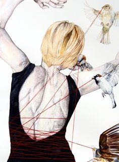 Julia Dotson combines watercolors with red thread by either drawing or sewing them on by hand.