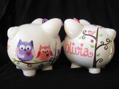 Items similar to piggy bank hand painted personalized pink and purple dena owl on Etsy Baby Girl Owl, Pig Bank, Personalized Piggy Bank, Color Me Mine, Paint Your Own Pottery, Cute Piggies, Pottery Painting, Painted Pottery, Dena