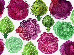 Margaret Berg Art: Cabbage+&+Artichokes