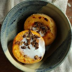 Roasted Peach with Ginger Coconut Cream makes for a quick and classy dessert. Perfect for the end of summer! Vegan. Healthy. Delicious!