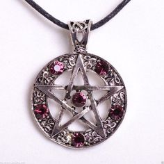 cool awesome Purple Pentacle Pentagram Necklace Gothic Wicca Jewelry...