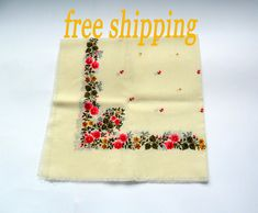 Free shipping shawl White cotton shawl  Floral scarf Ukrainian