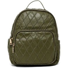 Urban Expressions Mae Quilted Vegan Leather Mid Backpack (2,015 INR) ❤ liked on Polyvore featuring bags, backpacks, olive, olive green bag, army green backpack, vegan backpack, zip bag and fake leather backpack