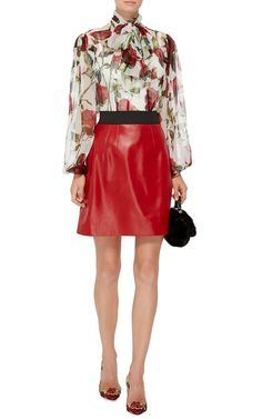 Red Leather A-Line Mini Skirt by Dolce