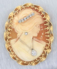 Ladies Antique Victorian 14k Yellow Gold Cameo Diamond Brooch Pin Pendant   eBay