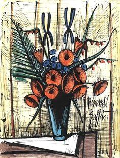 Bernard Buffet - Soucis et iris bleus - 1983, mixed media on paper - 65 x 50 cm