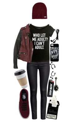 """""""who let me adult?? I can't adult // punk rock"""" by bvb-army4life ❤ liked on Polyvore featuring H&M, Neff, Vans and OUTRAGE"""