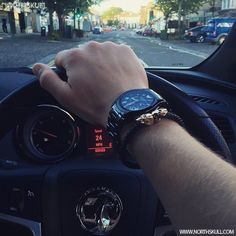 Fan Instagram Pic !   While cruising through the streets @Bradbury92 posted a cool photo of his black Emporio Armani Valente Ceramica Watch nicely paired with our premium Black Nappa Leather & 18kt. Gold Twin Skull Bracelet. Nice combo   Available now at Northskull.com   For a chance to get featured post a cool photo of your Northskull jewelry with the tag #Northskullfanpic on Instagram