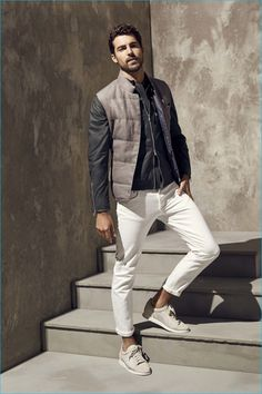 Brunello Cucinelli stands by the quilted vest for spring-summer 2017.