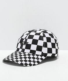 29fa7c57225 Vans Courtside Checkerboard Black   White Strapback Hat