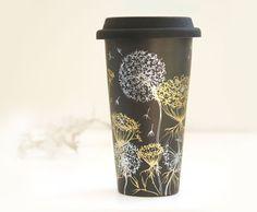Noir en céramique écologique Travel Mug dentelle de par yevgenia