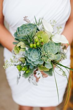 Stunning Succulent Bouquet at a Gorgeous Beach Wedding in Half Moon Bay, California // Simone Anne Photography