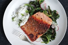 Find the recipe for Pan-Roasted Salmon with Collards and Radish Raita and other fish recipes at Epicurious.com