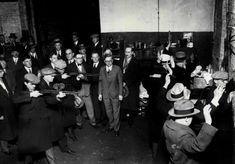 Herman Bundesen and the Coroner's Jury watch as the massacre is re-enacted at 2122 North Clark street. Valentines Day Massacre, Chicago Outfit, Al Capone, Saint Valentine, Gangsters, The St, United States, Watch, Street