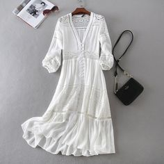 Cheap beach dress, Buy Quality summer dress directly from China women summer dress Suppliers: New Arrival Women Summer Dress Sexy V-neck Long Sleeve Lace Patchwork White Cotton Long Dress Casual Beach Dress Vestidos Robe Long Summer Dresses, White Dress Summer, White Boho Dress, Bohemian Dress Long, Dress Lace, Look Hippie Chic, Bohemian Mode, White Bohemian, Vintage Bohemian