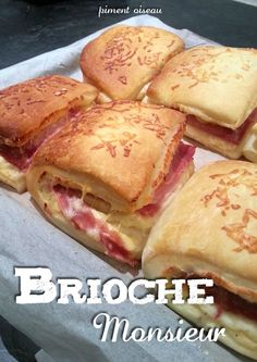 """Brioche monsieur"" - Fusion of ""croque-monsieur"" and ""brioche"", very french! Picnic Sandwiches, Just Eat It, Falafel, Real Food Recipes, Food To Make, Breakfast Recipes, Good Food, Favorite Recipes, Meals"